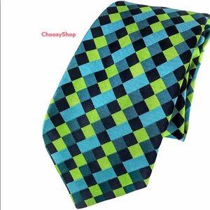 TED BAKER Lime Green Blue Black Diamond Silk Tie